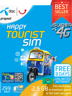 4G Unlimited Data SIM: Deliver to hotel in Bangkok