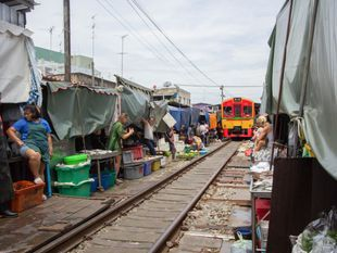 Amphawa Floating Market and Umbrella Railway Market