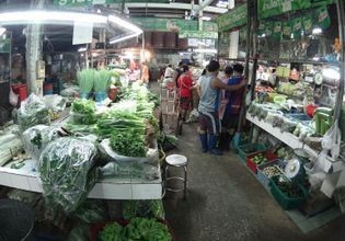 Vegetables and meat are gathering in this area