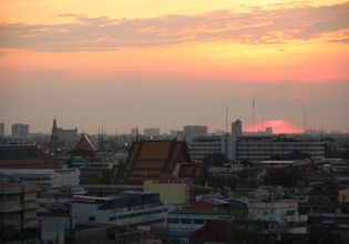 City and temple in Sunset