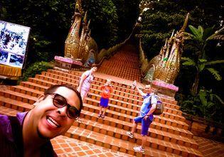 At Doi suthep Temple naga stair, when is less tourist