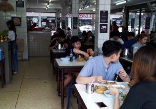 People enjoy their meal