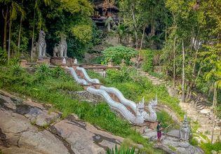 At hidden temple Naga stair
