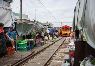 Amphawa Floating Market and Umbrella Railway Market