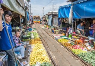 Maeklong Railway Market and Damnoen Saduak Floating Market