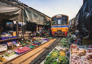 Experience the Original Tha Kha Floating Market & Maeklong Railway Market
