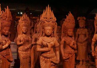 Many thousands pieces of wood carving