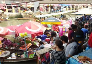 Amphawa floating market  local food on boat