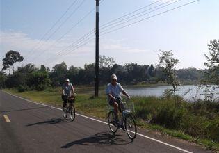 cycling pass beautiful lake
