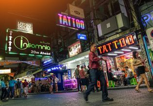 Nightlife at the Famous Walking Street of Pattaya