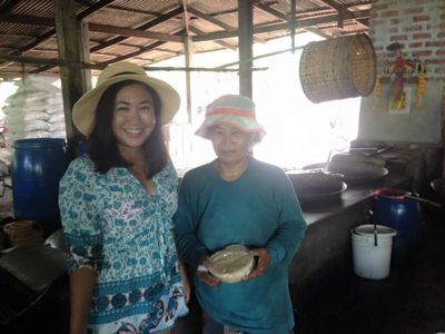 With local people who make coconut palm sugar