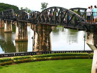 Historical Bridge over the River Kwai and  Erawan Water Fall  ( Day trip from Bangkok)