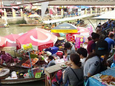 Amphawa floating market  local food on boat