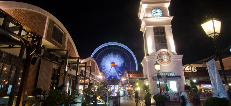 Asiatique Sky Ferris Wheel and the clock tower at Asiatique The Riverfront