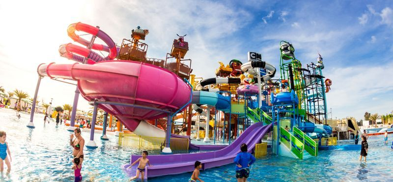 Colorful and massive water slides at Cartoon Network Amazone Water Park